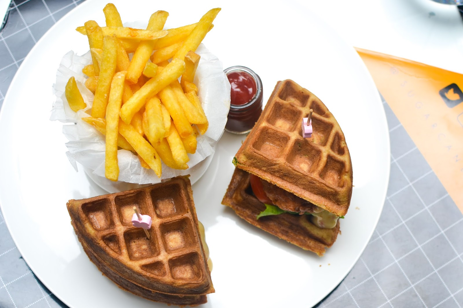 Chicken Waffle Sandwich at Sugarcane