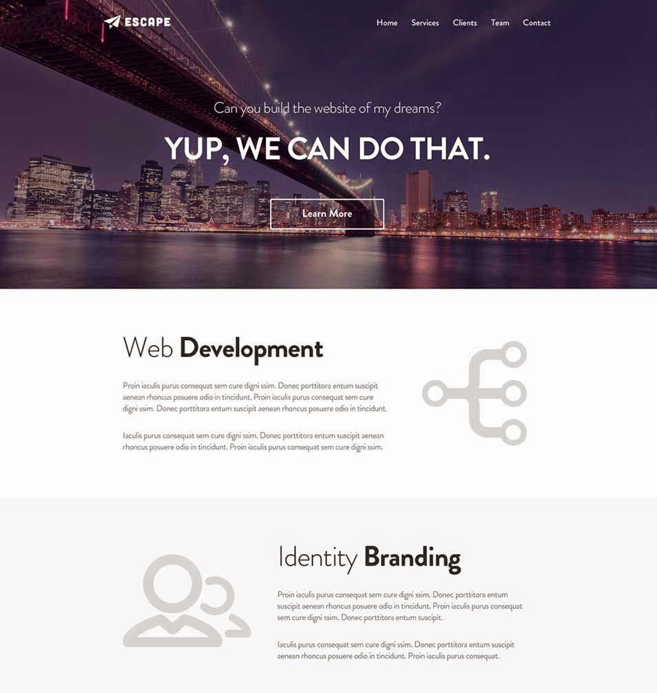 Escape - One Page PSD Web Template