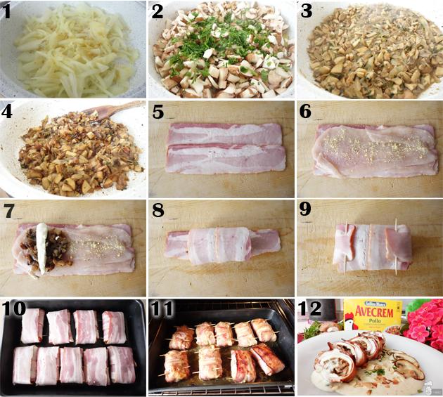 Rollitos de pollo rellenos de setas con bacon