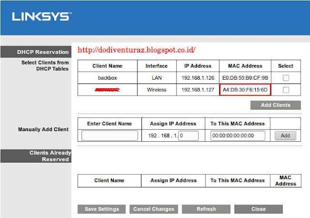 Cara Blok Client Dengan MAC Filter di Router Linksys E1200