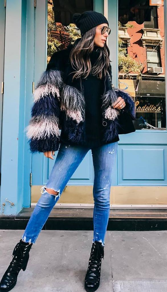 how to wear a hat : fur jacket + ripped jeans + bag + top + boots