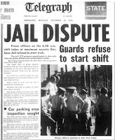 Striking prison officers from Boggo Road make the front page of the 'Telegraph' in 1974