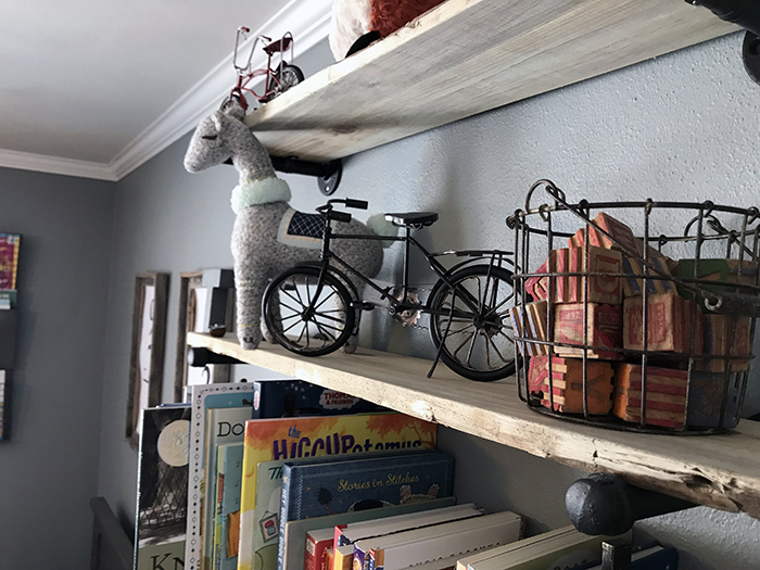 DIY wood shelves with books