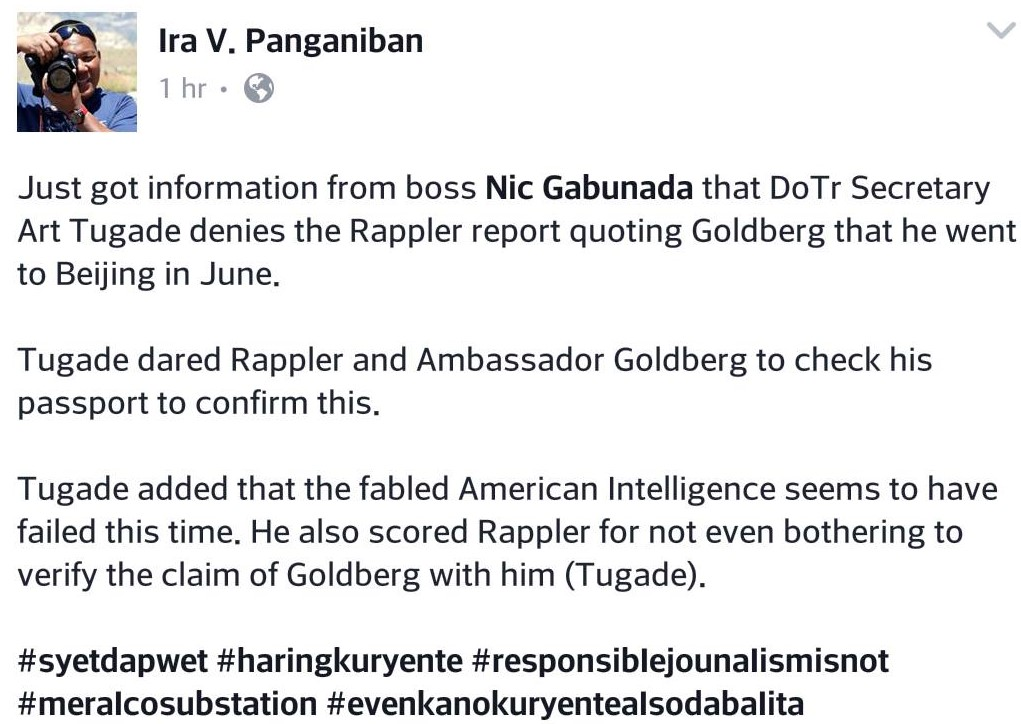 "DOT Sec. Tugade to Rappler: ""Check your facts"", as he denies Goldberg's claims of his ""secret Beijing trip"""