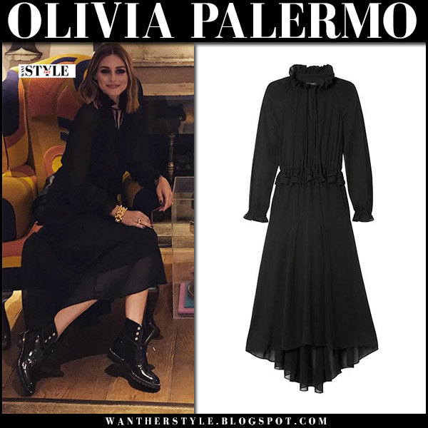 Olivia Palermo in black long sleeve maxi dress banana republic and dior army boots instagram september 17 london
