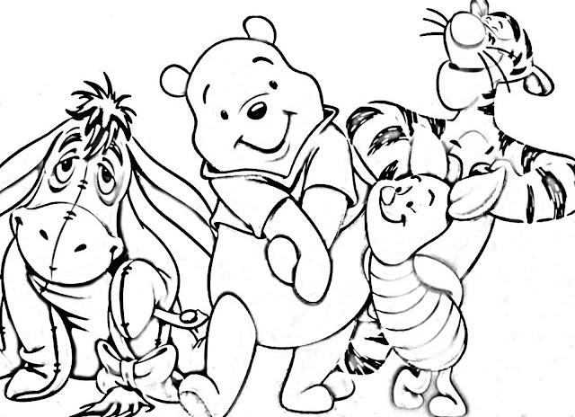 gambar mewarnai beruang, harimau, babi kecil dan keledai - winnie the pooh