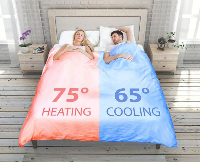SmartDuvet Breeze - dwustrefowa kołdra dla par z możliwością dostosowania temperatury do indywidualnych potrzeb.