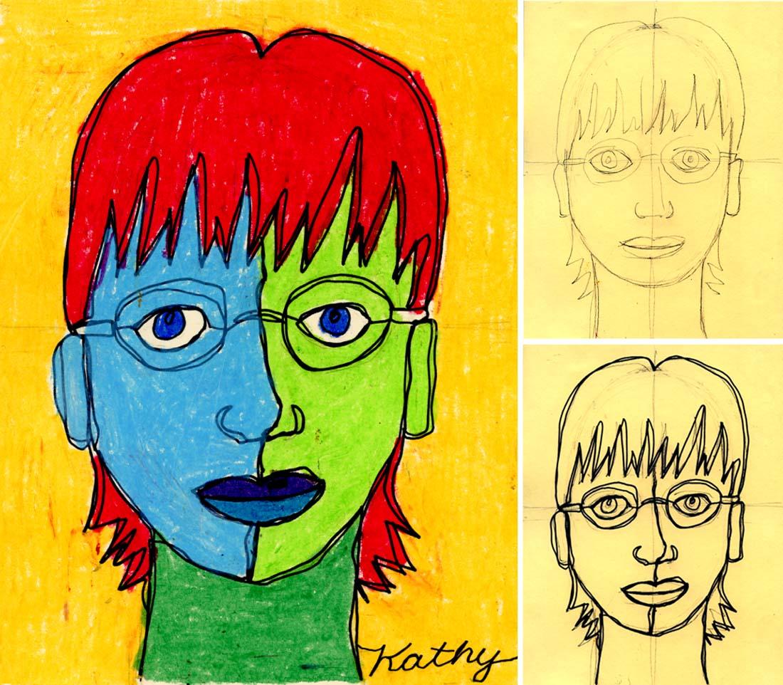 Self Portrait Line Drawing Plus Oil Pastels