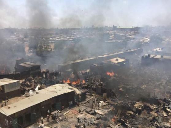 Photos: Fire guts popular Kenyan second-hand clothes market