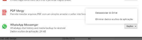 remover WhatsApp do Google Drive