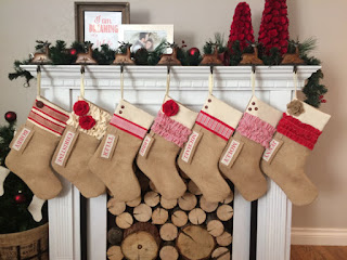 burlap stockings by the fireplace pink slip inspiration etsy