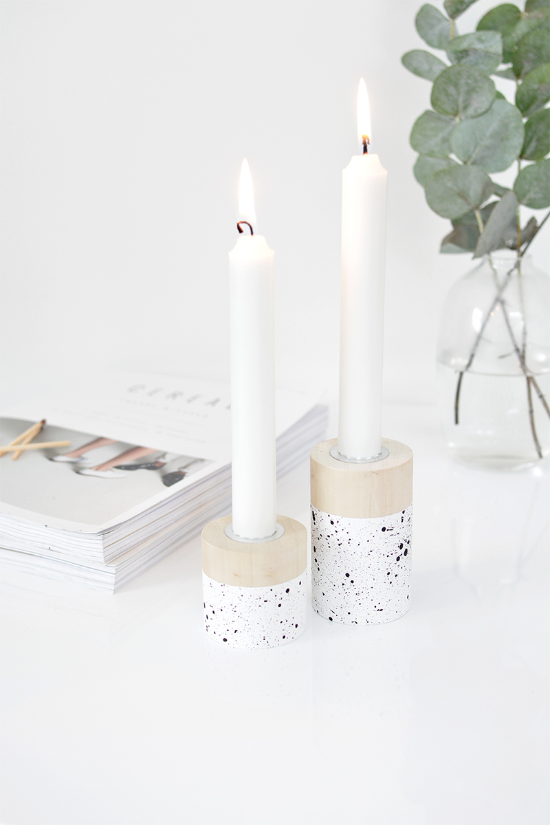 DIY speckled candlesticks