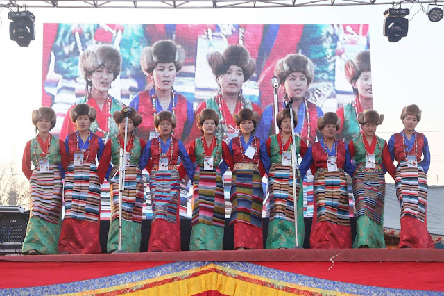 "The artists from Himalayan Sherpa Youth Club ""Khiraule"" performing Sherpa cultural syabru dance in the Syabru Dance Competition organized by Himalayan Sherpa Culture Center on the occasion of 2146th Sa Mo Fag Lho Gyalpo Lhosar in Kathmandu."