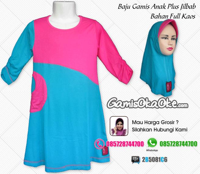 Baju gamis anak oka oke solo plus jilbab model terbaru murah online