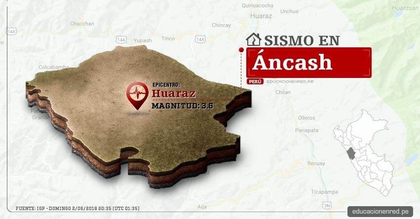 Temblor en Áncash de Magnitud 3.6 (Hoy Domingo 2 Junio 2019) Sismo Epicentro Huaraz - IGP - www.igp.gob.pe