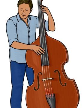 コントラバス contrabass(弦をはじいて演奏)