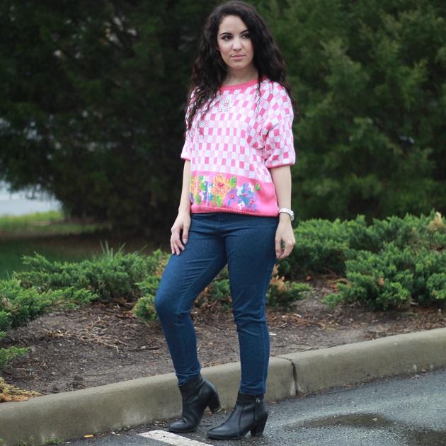 Pink Checkered Sweater