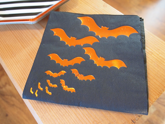 Orange foil bat black napkins from Party Pieces