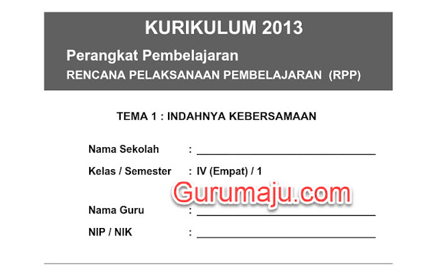Download RPP Kurikulum 2013 Kelas 4 SD Semester 1 & 2 Revisi