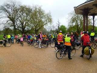 lambeth Cyclists ride gathers on Clapham Common, SW4