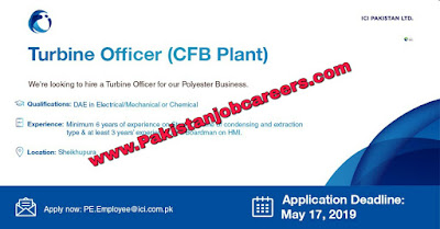 ICI Pakistan Limited Jobs 2019 for Turbine Officer Latest