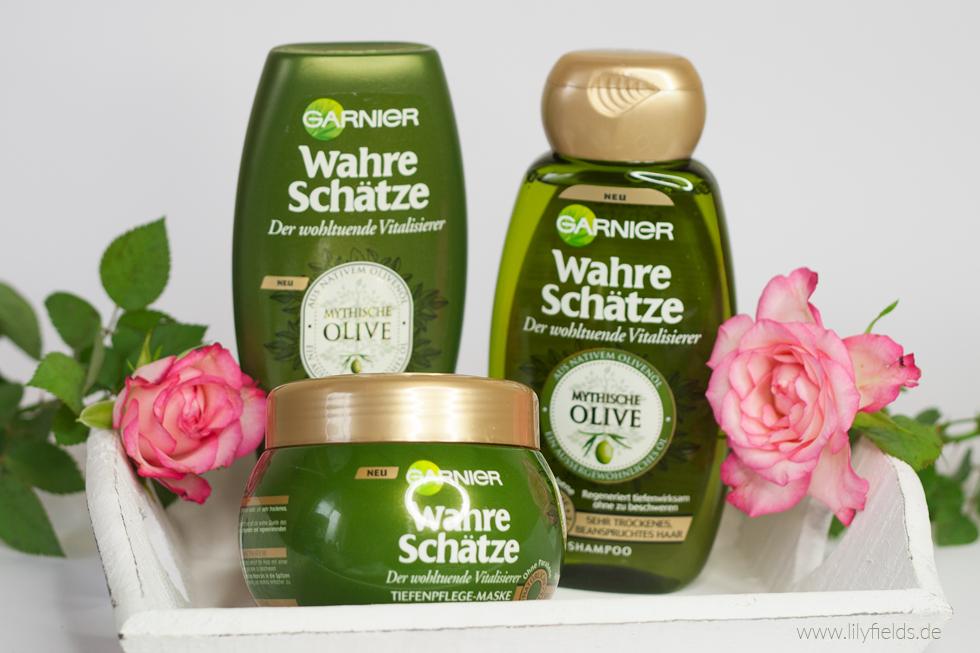 Bild zeigt Shampoo, Spülung und Haarmaske Garnier Wahre Schätze Mythische Olive