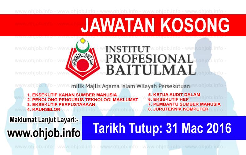 Jawatan Kerja Kosong Institut Profesional Baitulmal (IPB) logo www.ohjob.info mac 2016