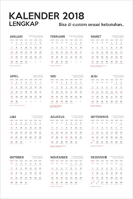 Free Download Template Calendar 2018