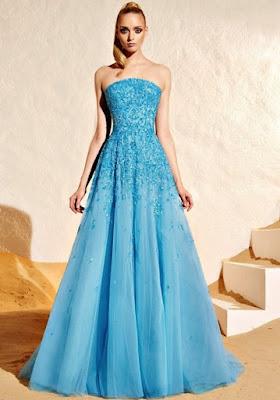 Gaun pesta biru keren
