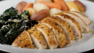 Roast Breast Of Chicken With Roasted Root Vegetables And A AHerb Mascarpone Sauce (Recipe)