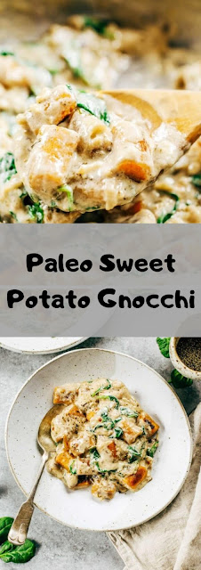 Paleo Sweet Potato Gnocchi In Spinach Cream Sauce #paleo #sweet #potato #gnocchi #spinach #cream #sauce