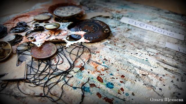 разворот, арт-бук, микс-медиа, заклёпки, пуговицы, часы, рельсы