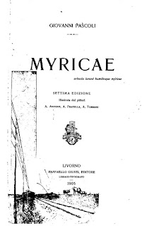 The cover of Pascoli's book of lyric poetry, Myricae