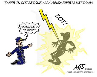taser, gendarmeria vaticana, vaticano, sicurezza, umorismo, vignetta, satira