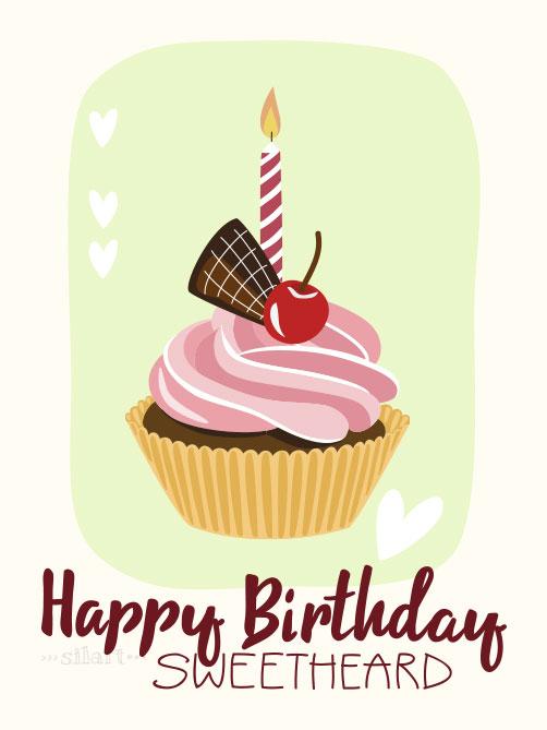 Geburtstagskarte mit cupcake und Kerze, birthday card