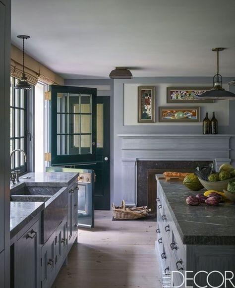 Grey Kitchens Ideas: A Kitchen W/ Fireplace + Dutch Door