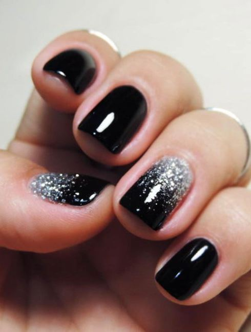awesome black and glitter nail design