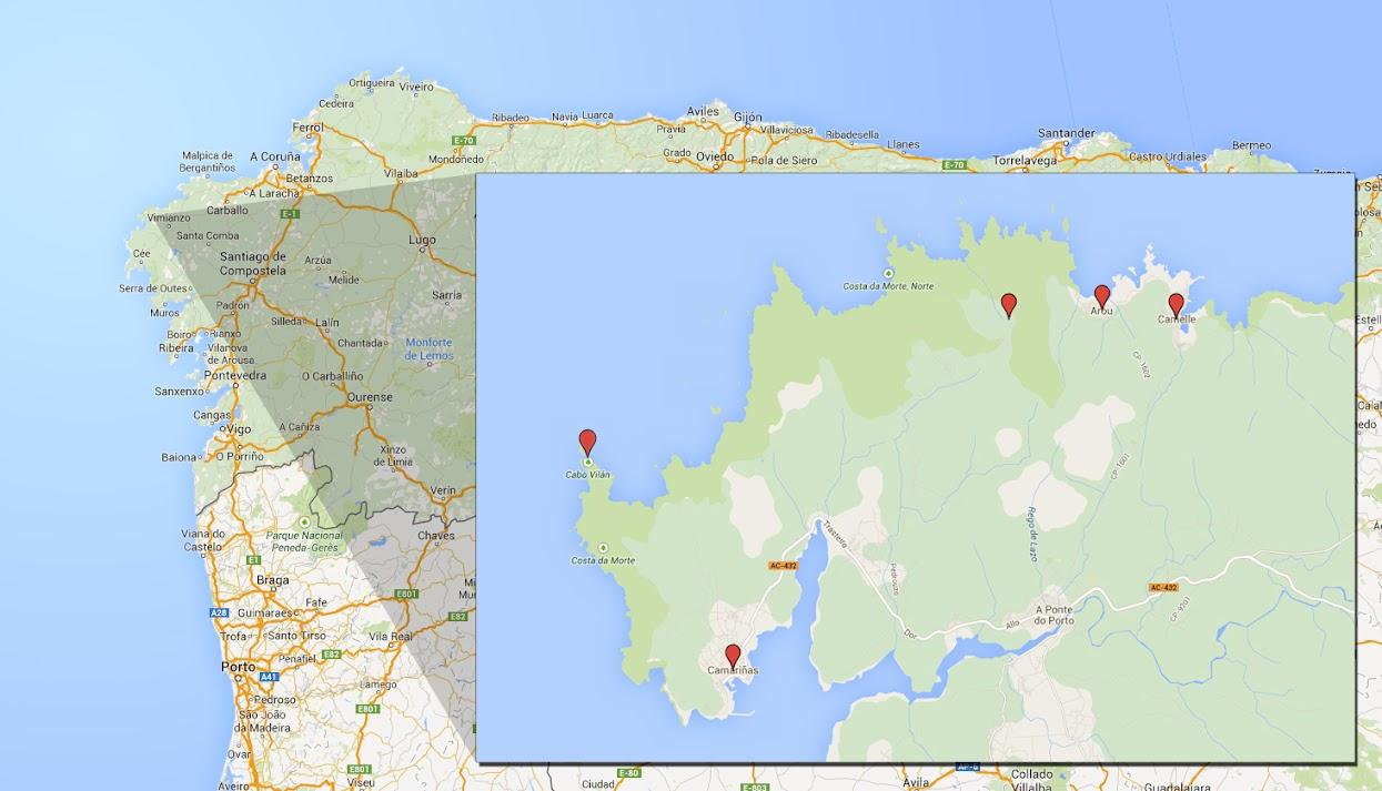 Mapa Costa Da Morte.Costa Da Morte Vos Xa Me Diran Se Valera A Pena Viagens