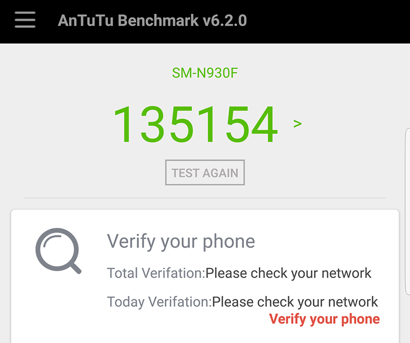 The Antutu score of Note 7
