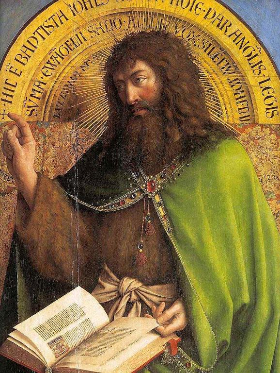São João Batista se consumiu de zelo pela causa de Deus e preparou o caminho para a vinda de Cristo. Retábulo de Gante (detalhe), Jan van Eyck  (1390 — 1441). Catedral Saint Bavo.