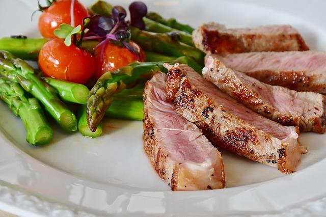 Sliced Pork Roast and Asparagus