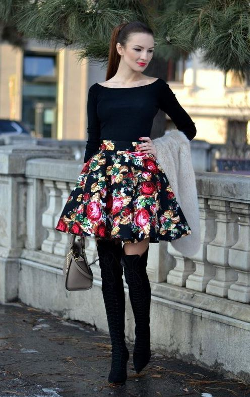 amazing outfit idea / black top + bag + over knee boots + floral skirt