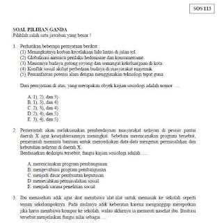 Soal USBN Sosiologi SMA MA