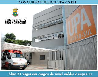 UPA Centro Sul Belo Horizonte lança edital de concurso público para contratação de 21 vagas, em diversos cargos