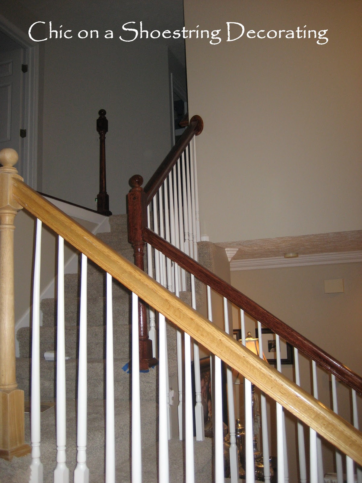 Chic on a Shoestring Decorating: How to Stain Stair