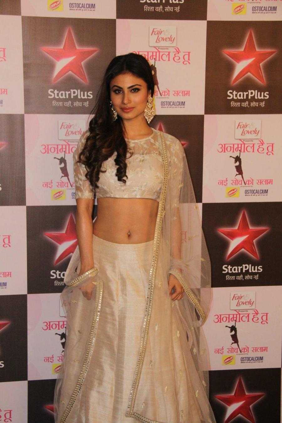 Tv Actress Mouni Roy Navel Hip Show In White Dress