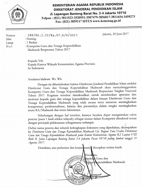 Juknis Juklak Kompetisi (Lomba) Guru, Kepala Sekolah dan Pengawas Madrasah Berprestasi 2017