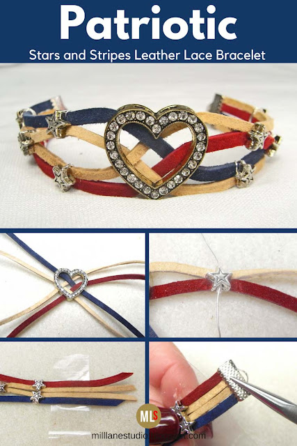 Stars and Stripes leather lace bracelet inspiration sheet