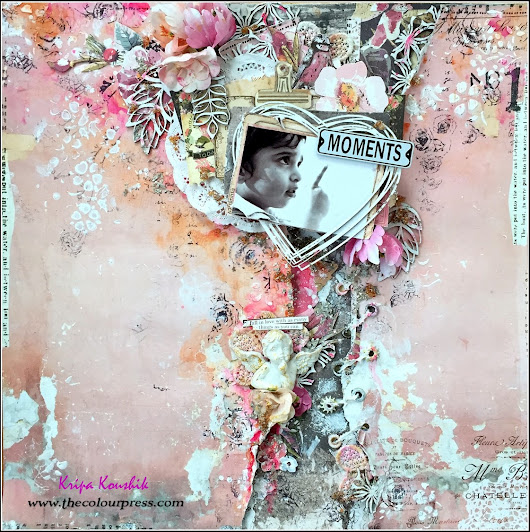 (Tutorial) : 'Moments' Shabby Chic Scrapbook Layout
