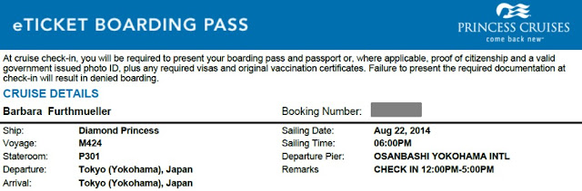eTicket Boarding Pass Princess Cruises